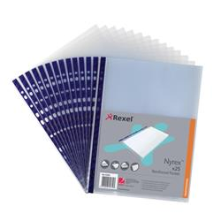Rexel Nyrex Pocket Reinforced Blue Strip Top-opening A4 Clear Ref 12233 [Pack of 25] - 2 for 1