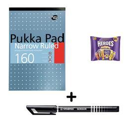 Pukka Metallic Refill Pad 80gsm A4 [Pack 6] & Stabilo Fineliner Pen Black [Pack 10] - Bundle Offer + FREE Cadbury Heroes Bag 278g