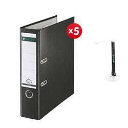 Leitz Lever Arch File Plastic 80mm Spine A4 Black Ref 10101095 [Pack 10] - x5 + FREE Rexel Activita Strip+ Day Lamp
