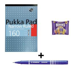 Pukka Metallic Refill Pad 80gsm A4 [Pack 6] & Stabilo Fineliner Pen Blue [Pack 10] - Bundle Offer + FREE Cadbury Heroes Bag 278g
