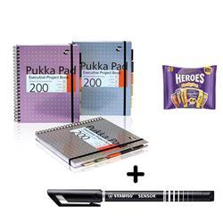 Pukka Pad Project Book A4 [Pack 3] & Stabilo Fineliner Pen Black [Pack 10] - Bundle Offer + FREE Cadbury Heroes Bag 278g