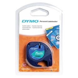 Dymo LetraTag Tape Plastic 12mmx4m Black on Green Ref S071640