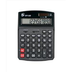5 Star Office Calculator Desktop Solar/Battery Power 12 Digit 2 Set Memory 91x125x11mm