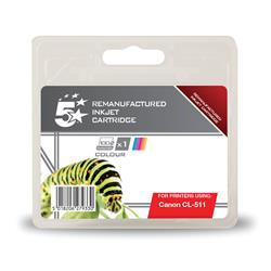 5 Star Office Remanufactured Inkjet Cartridge [Canon CL-511 Alternative] Colour