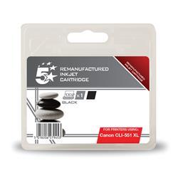 5 Star Office Remanufactured Inkjet Cartridge [Canon CLI-551 XL Alternative] Black