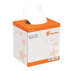 5 Star Facilities Luxury Facial Tissues 2 Ply Cube Box 70 Sheets per Box [24 Boxes]