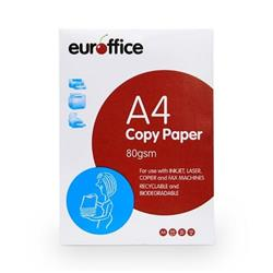 Euroffice A4 Paper Ream-Wrapped 80gsm White Ream [500 Sheets]