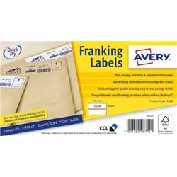 Avery FL08 Franking Labels QuickDry 500 Labels 155x40mm White [Pack 2]