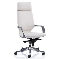 Adroit Executive Chair Static Arms Flat Packed Bonded Leather White Ref KC0229