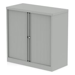 Qube by Bisley 1000mm Side Tambour Cupboard Goose Grey No Shelves Ref BIS1STGRY