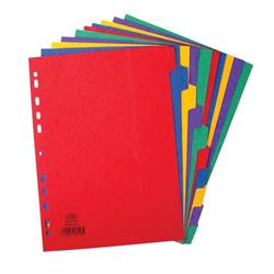 Elba Heavyweight 225gsm Pressboard Dividers Extra Wide Europunched 10-Part A4 Assorted Ref 400007516