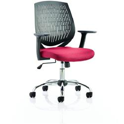 Dura Black Task Operator Chair Back Cherry Colour Seat With Arms Ref KCUP0201