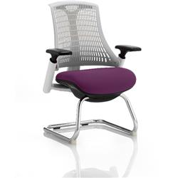 Flex Task Operator Chair White Back Cantilever White Frame Purple Colour Seat With Arms Ref KCUP0728