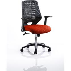 Relay Task Operator Chair Pimento Colour Black Back With Arms Ref KCUP0508