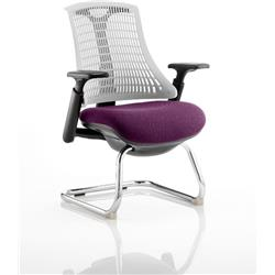 Flex Task Operator Chair Black Frame White Back Cantilever Purple Colour Seat With Arms Ref KCUP0760
