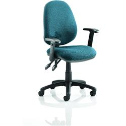 Luna II Lever Task Operator Chair Kingfisher Colour With Height Adjustable Arms Ref KCUP0934
