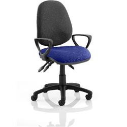Luna III Lever Task Operator Chair Black Back Serene Colour Seat With Loop Arms Ref KCUP0985