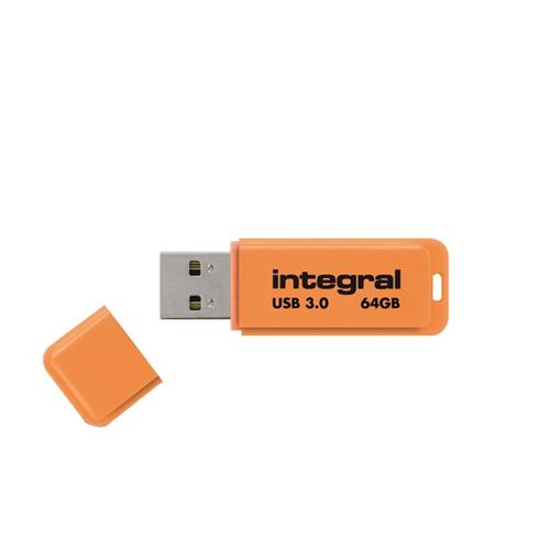 Foto Flash Drive NEON 3.0 Integral - 64 GBrancione - INFD64GBNEONOR3.0 Chiavette USB