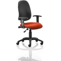 Eclipse I Lever Task Operator Chair Black Back Pimento Colour Seat With Height Adjustable Arms Ref KCUP0823