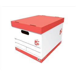 5 Star Office Storage Box for 5 A4 Lever Arch Files Red & White [Pack 10]
