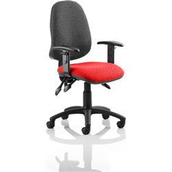Eclipse III Lever Task Operator Chair Black Back Cherry Colour Seat With Height Adjustable Arms Ref KCUP0872
