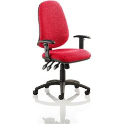 Eclipse XL III Lever Task Operator Chair Cherry Colour With Arms Ref KCUP0888