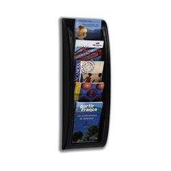 Fast Paper Literature Holder Wall Mount 5 x A5 Pockets Black Ref 4063.01