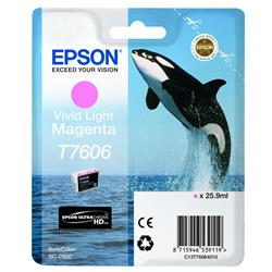 Epson T7606 (25.9ml) Vivid Light Magenta Ink Cartridge for SureColor SC-P600 Printers