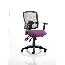 Portland III Task Operator Chair Black Mesh Back Purple Colour Seat With Arms Ref KCUP0496