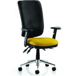 Chiro Task Operator Chair High Back Sunset Colour Seat With Arms Ref KCUP0109