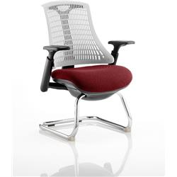 Flex Task Operator Chair Black Frame White Back Cantilever Chilli Colour Seat With Arms Ref KCUP0758