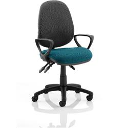 Luna III Lever Task Operator Chair Black Back Kingfisher Colour Seat With Loop Arms Ref KCUP0990