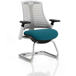 Flex Task Operator Chair White Back Cantilever White Frame Kingfisher Colour Seat With Arms Ref KCUP0727