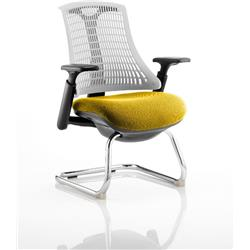 Flex Task Operator Chair Black Frame White Back Cantilever Sunset Colour Seat With Arms Ref KCUP0757