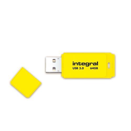 Foto Flash Drive NEON 3.0 Integral - 64 GB - giallo - INFD64GBNEONYL3.0 Chiavette USB