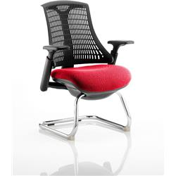 Flex Task Operator Chair Black Frame Black Back Cantilever Cherry Colour Seat With Arms Ref KCUP0273