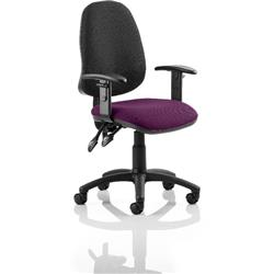 Eclipse II Lever Task Operator Chair Black Back Purple Colour Seat Fabric With Height Adjustable Arms Ref KCUP0844