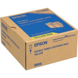 Epson 0606 High Capacity Toner Cartridges (Yield 7,500 Pages) Yellow (2 Pack) for AcuLaser C9300N Series Colour Laser Printer