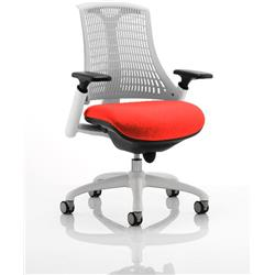 Flex Task Operator Chair White Back White Frame Pimento Colour Seat With Arms Ref KCUP0732