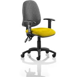 Eclipse II Lever Task Operator Chair Black Back Sunset Colour Seat Fabric With Height Adjustable Arms Ref KCUP0843
