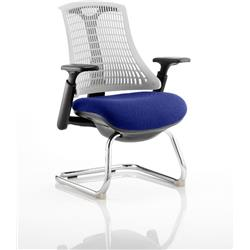 Flex Task Operator Chair Black Frame White Back Cantilever Serene Colour Seat With Arms Ref KCUP0755