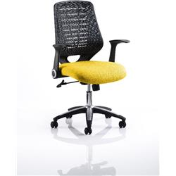 Relay Task Operator Chair Sunset Colour Black Back With Arms Ref KCUP0509