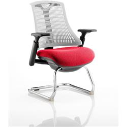 Flex Task Operator Chair Black Frame White Back Cantilever Cherry Colour Seat With Arms Ref KCUP0753