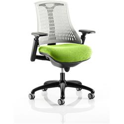 Flex Task Operator Chair Black Frame White Back Swizzle Colour Seat With Arms Ref KCUP0762