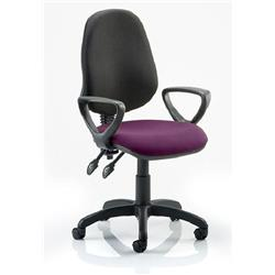 Eclipse II Lever Task Operator Chair Black Back Purple Colour Seat Fabric With Loop Arms Ref KCUP0852