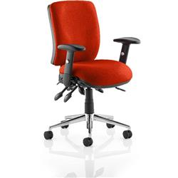 Chiro Task Operator Chair Medium Back Pimento Colour With Arms Ref KCUP0116