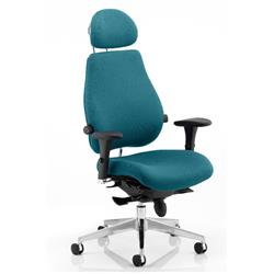 Chiro Plus Posture Chair Ultimate With Headrest Kingfisher Colour With Arms Ref KCUP0175
