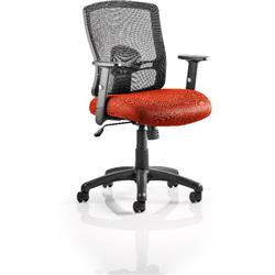 Portland Task Operator Chair Pimento Colour Seat With Arms Ref KCUP0476