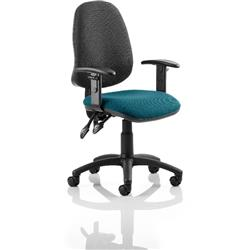 Eclipse II Lever Task Operator Chair Black Back Kingfisher Colour Seat Fabric With Height Adjustable Arms Ref KCUP0846