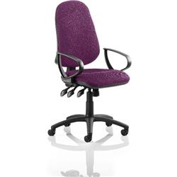 Eclipse III Lever Task Operator Chair Purple Colour With Loop Arms Ref KCUP0868